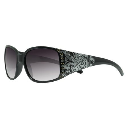 "Piranha ""Inspired I"" Shiny Black Frame Womens Sunglasses with Smoke Lens"