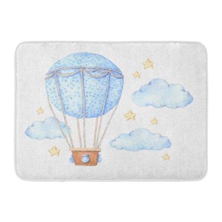 SIDONKU Doodle Watercolor Hot Air Balloon in The Sky Baby Cloud Watercolour Basket Doormat Floor Rug Bath Mat 23.6x15.7