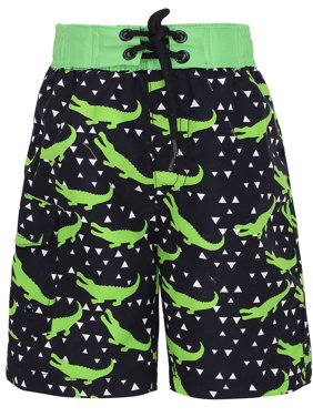 Boys' Fast Drying Sea Creature Summer Swim Trunks, Crocodie, X-Small