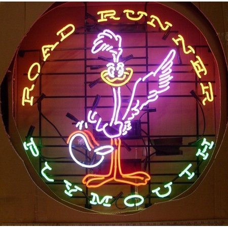 Desung Brand New Road Runner Plymouth Super Bird Neon Sign Lamp Glass Beer Bar Pub Man Cave Sports Store Shop Wall Decor Neon Light 24