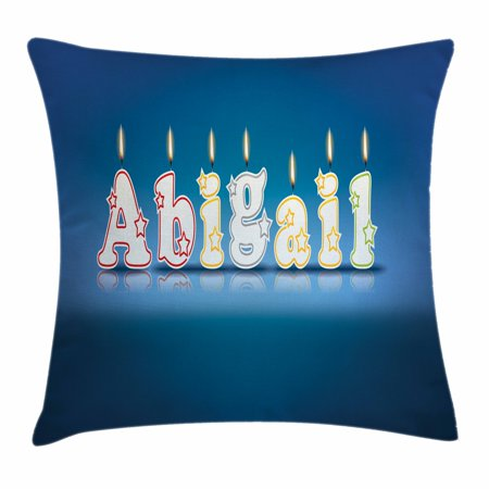 Abigail Throw Pillow Cushion Cover, Alphabet Letters for Sweet Birthday Cake Topping on Blue Backdrop Image, Decorative Square Accent Pillow Case, 16 X 16 Inches, Blue and Multicolor, by Ambesonne