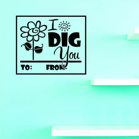 Custom Decals I Dig You Wall Art Size: 16 X 16 Inches Color: Black - I Dig You