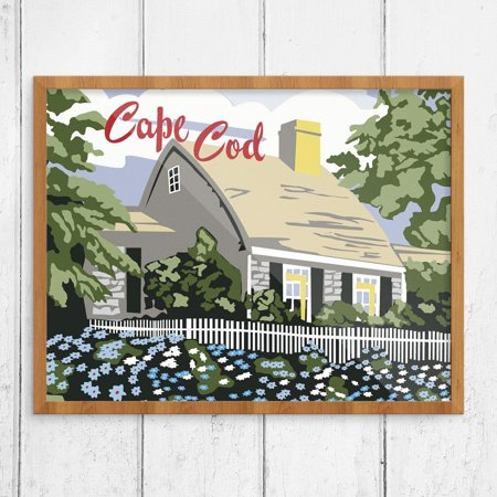 Cottage Paint By Number (Paint By Number Style Cape Cod Cottage Print )