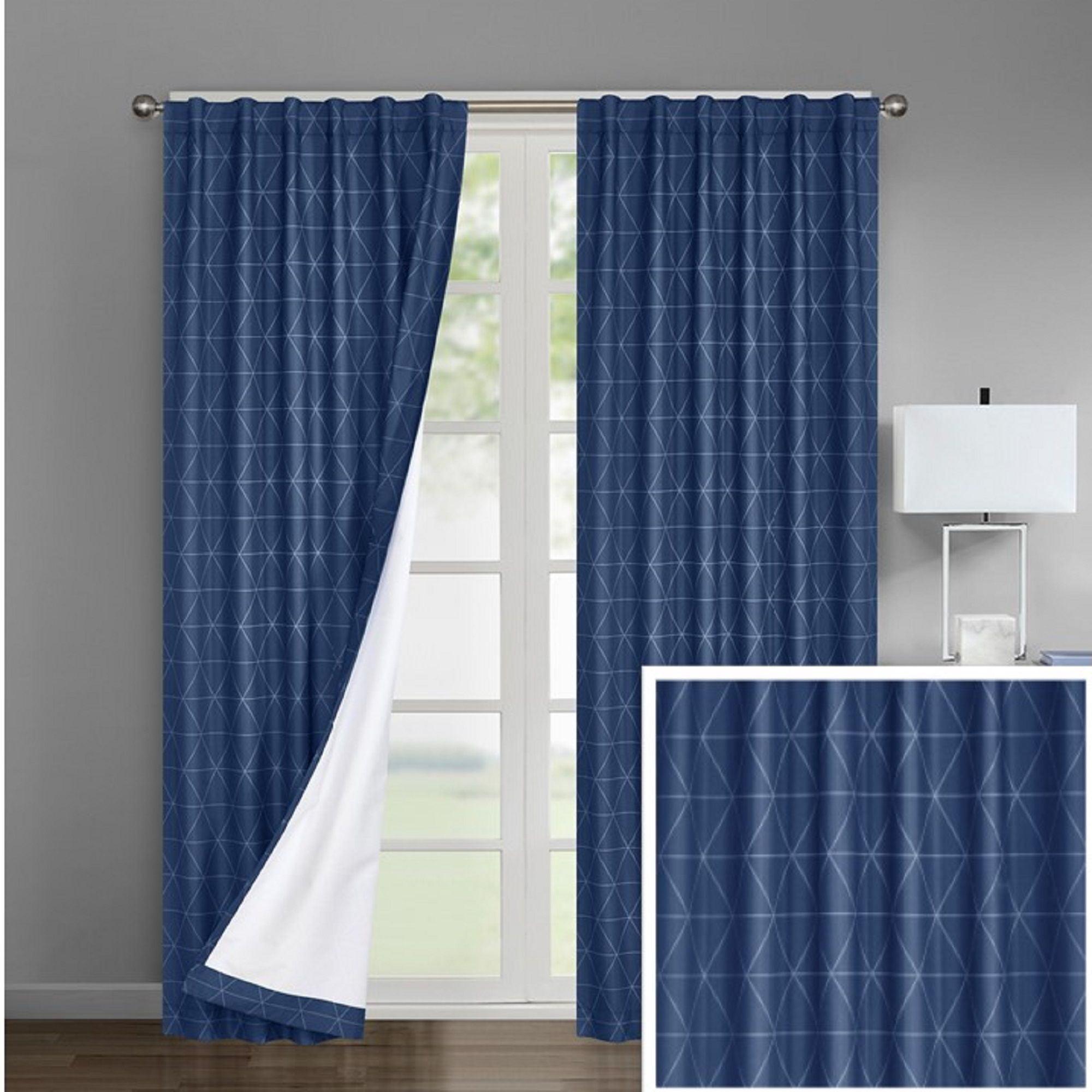 Urban Shop Geometric Print Room Darkening Rod Pocket Curtain Panel Set Of 2 Walmart Com Walmart Com