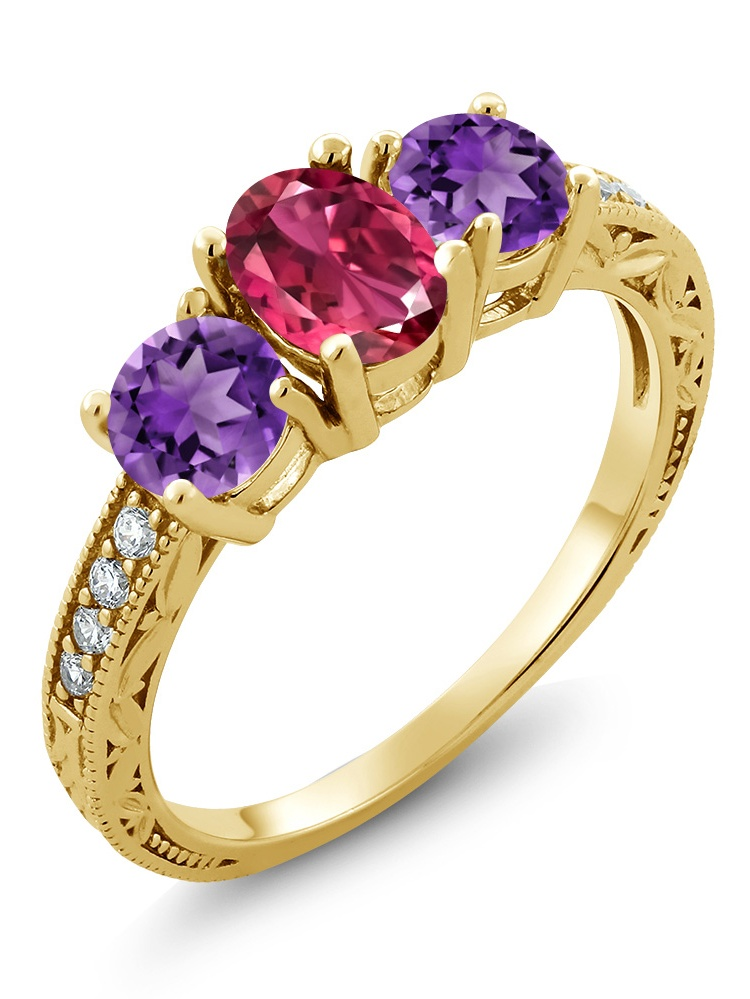 Gem Stone King 1.87 Ct Oval Pink Tourmaline Purple Amethyst 18K Yellow Gold Plated Silver Ring by