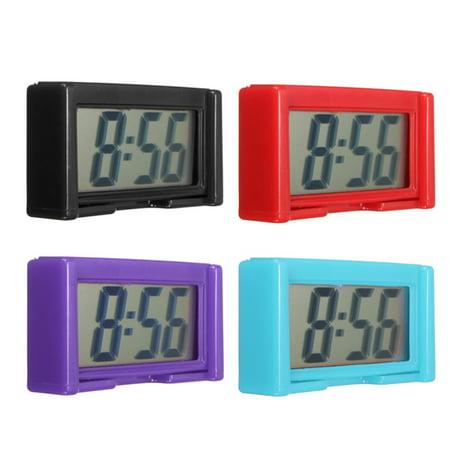 Portable Mini Automotive Digital LCD Clock Home Kitchen Car Clock Self-Adhesive Stick On Time 4 Colors