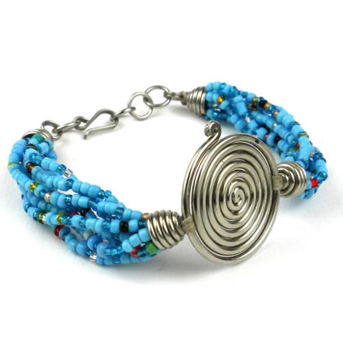 Global Crafts Handmade Single Spiral 'Progress' Blue Beaded Bracelet (Kenya)