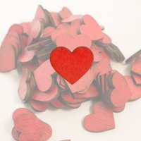 Crafts - RED Hearts 100 Count 1in Raw Wood