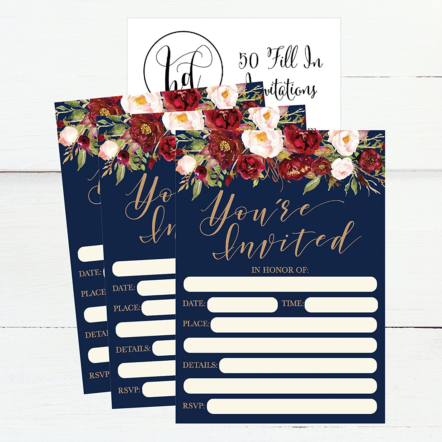 50 Floral Invitations Fall Bridal Or Baby Shower Invite Birthday