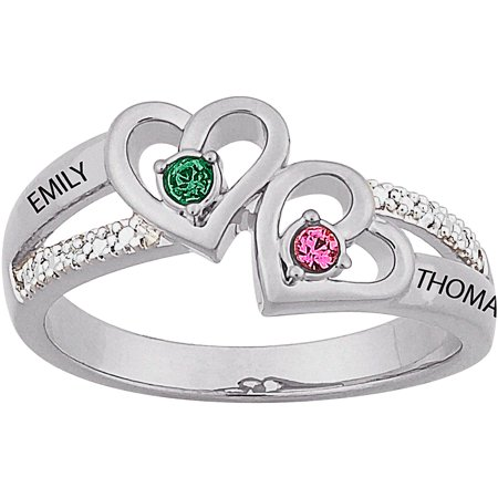 personalized sterling silver couples heart birthstone name diamond accent ring - Wedding Rings From Walmart