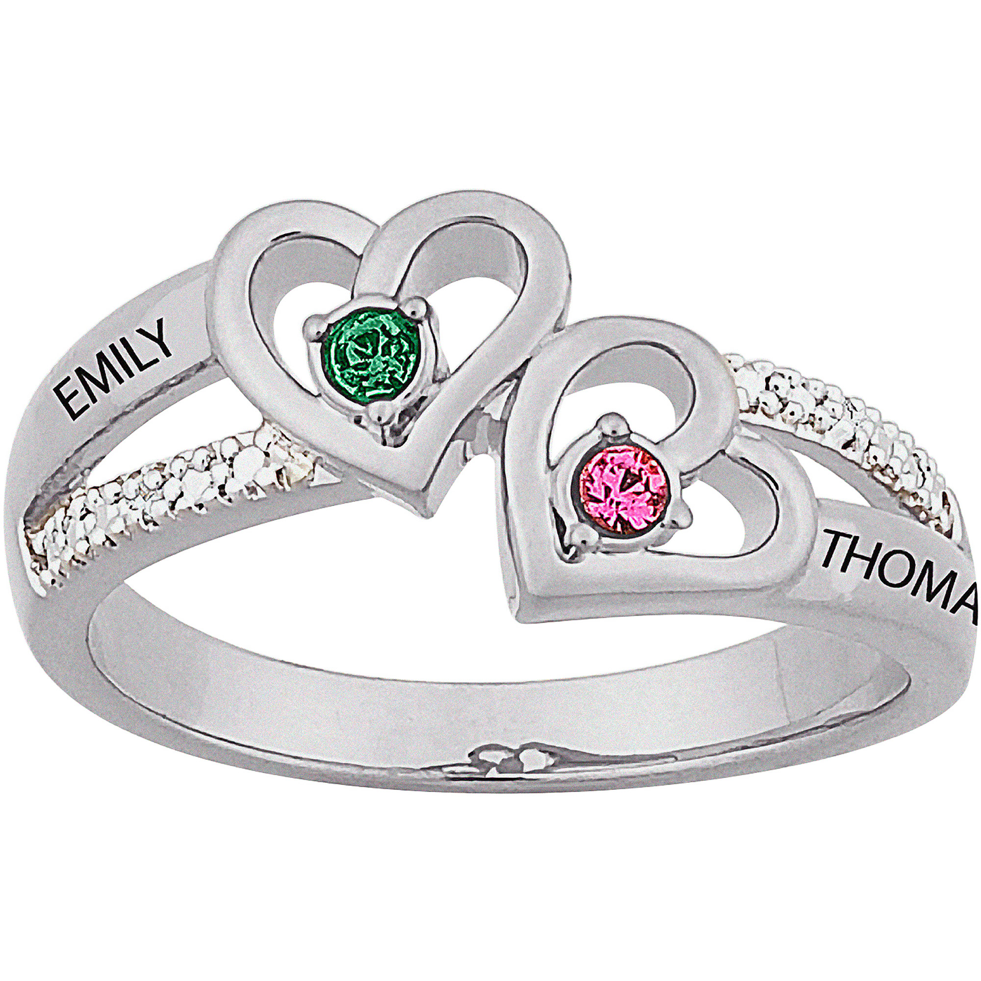 Personalized Sterling Silver Couples Heart Birthstone & Name Diamond Accent Ring