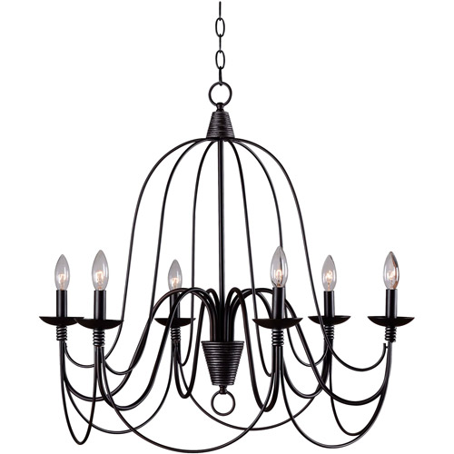 Kenroy Home Pannier 6-Light Chandelier, Oil Rubbed Bronze with Silver Highlights