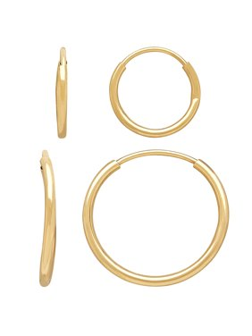 Brilliance Fine Jewelry Children's 10K Yellow Gold Polished Endless Hoop Earrings Set