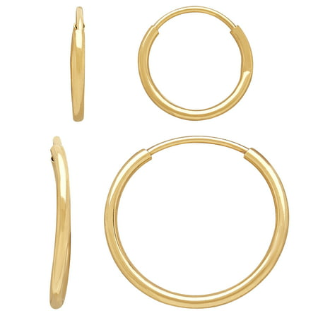 Kids' 10kt Yellow Gold 10mm and 14mm Round Endless Hoop Earrings Set