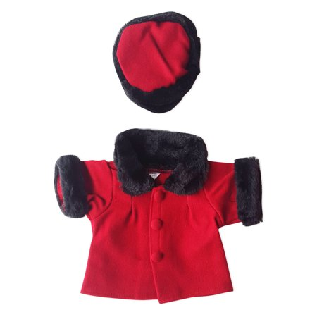 """Red Velvet Coat and Hat Teddy Bear Clothes Fits Most 14"""" - 18"""" Build-a-bear and Make Your Own Stuffed Animals"""