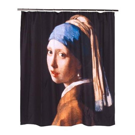 72 x 72 in. Girl with the Pearl Earring Fabric Shower Curtain, Multi Color](Girl In The Shower)