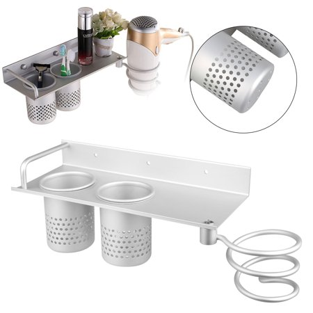 Multifunction Hair Dryer Stands Wall Mounted Holder Aluminum Bathroom Organizer shelf with 2 cups ()