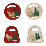 Bags Christmas Felt Three-dimensional Bags, Christmas Elk Tote Treat Bag for Party Favors and Candy