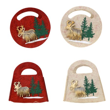 Bags Christmas Felt Three-dimensional Bags, Christmas Elk Tote Treat Bag for Party Favors and Candy (Party City In Elk Grove)
