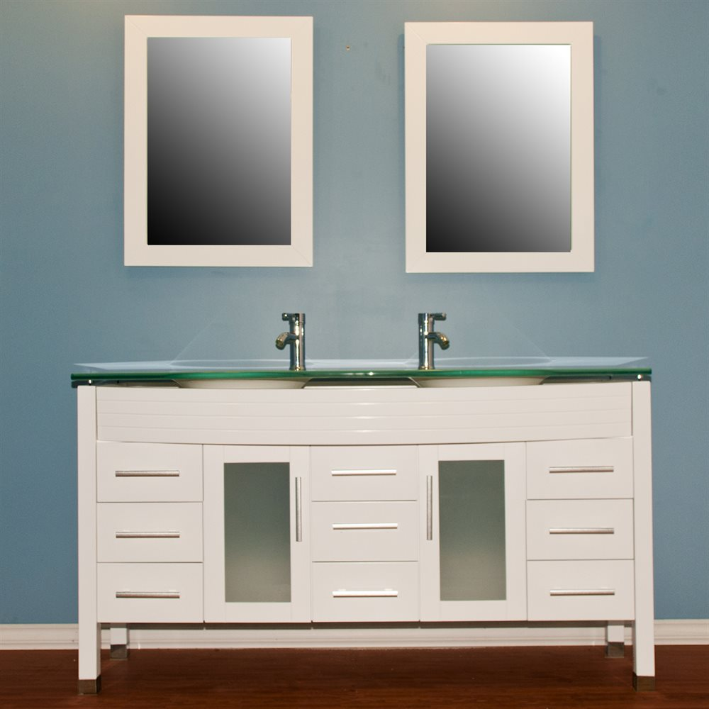 Cambridge Plumbing 8129W Double Vessel Sink Bathroom Vanity Set