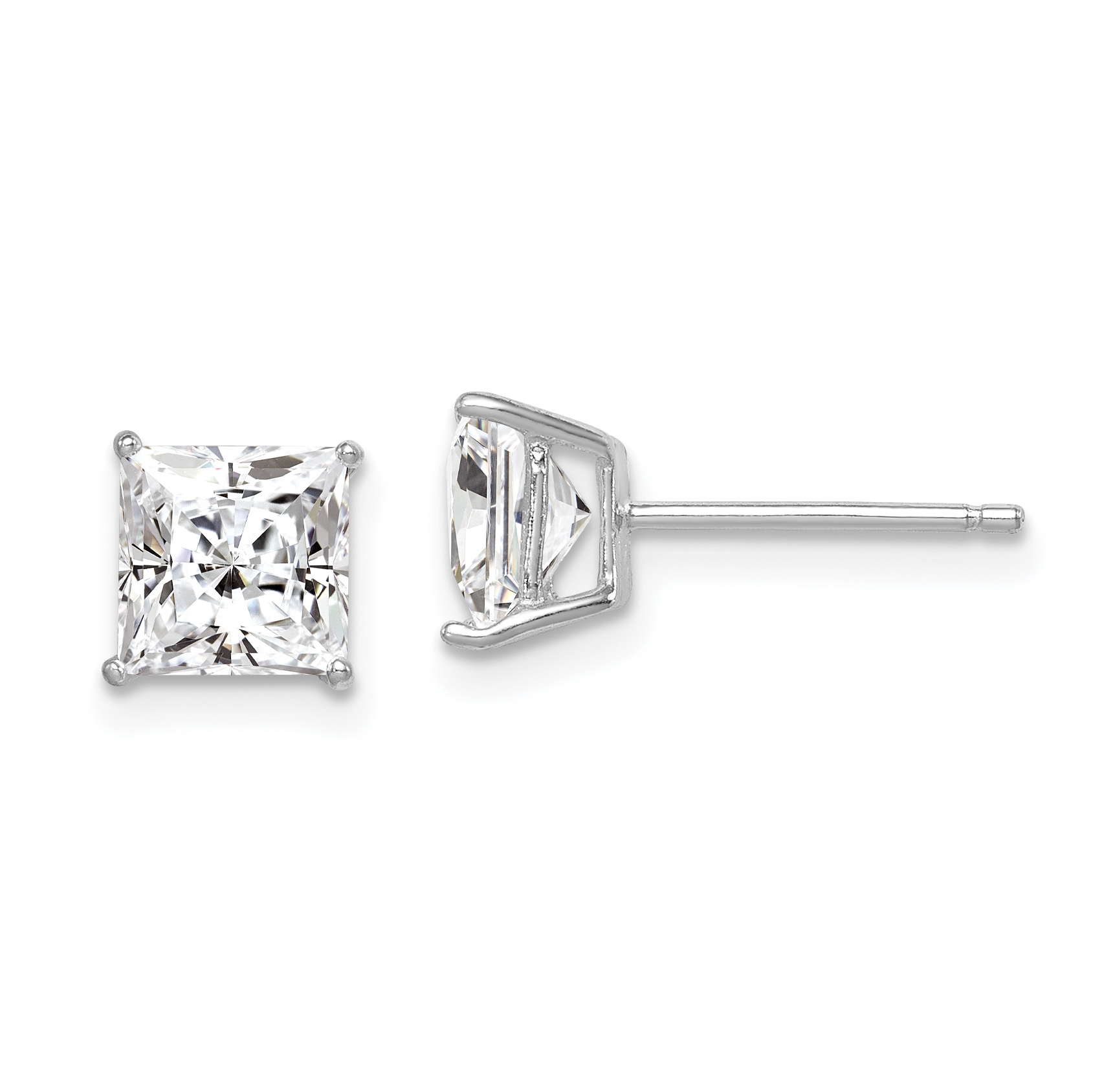 Square 4mm 925 Sterling Silver Ear Studs with Cubic Zirconia So Chic Jewels