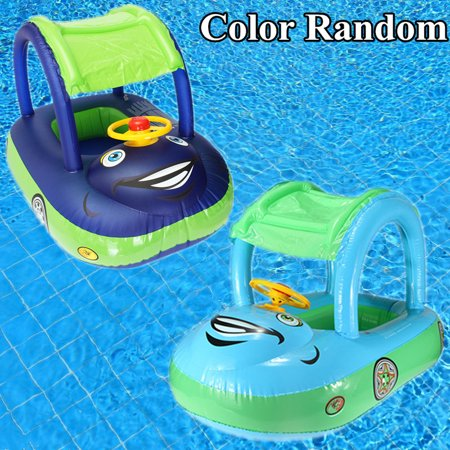 (Sunshade Inflatable Jewelry Swimming Pool Baby Kids Float Seat Boat Car Swim Ring Steering Wheel Summer Toys Outdoor Play (Random Blue Color))