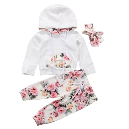 Kids Clothing Stores Online (Bilo Store Infant Baby Girl Floral Pattern Long Sleeve Hoodie and Pants 3 pcs Cotton Outfit (90/12-18)
