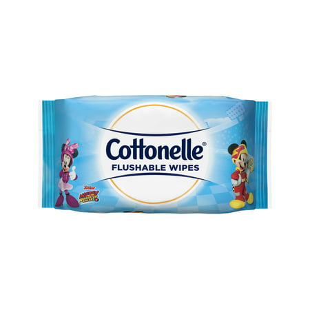 Cottonelle Flushable Wipes for Kids, Flip-Top Pack, 45 Wet Wipes in Disney packaging