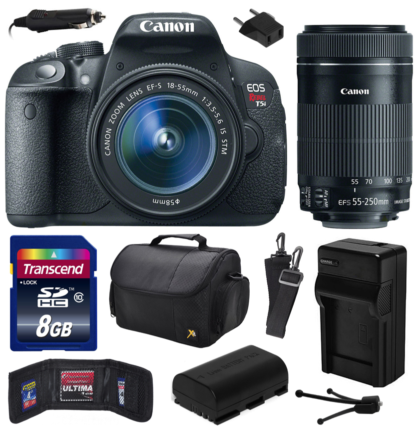 Canon EOS Rebel T5i Digital SLR with 18-55mm STM and EF-S 55-250mm f/4-5.6 IS STM Lens includes 8GB Memory, Large Case, Battery, Charger, Memory Card Wallet, Cleaning Kit (8GB Value Bundle) 8595B003