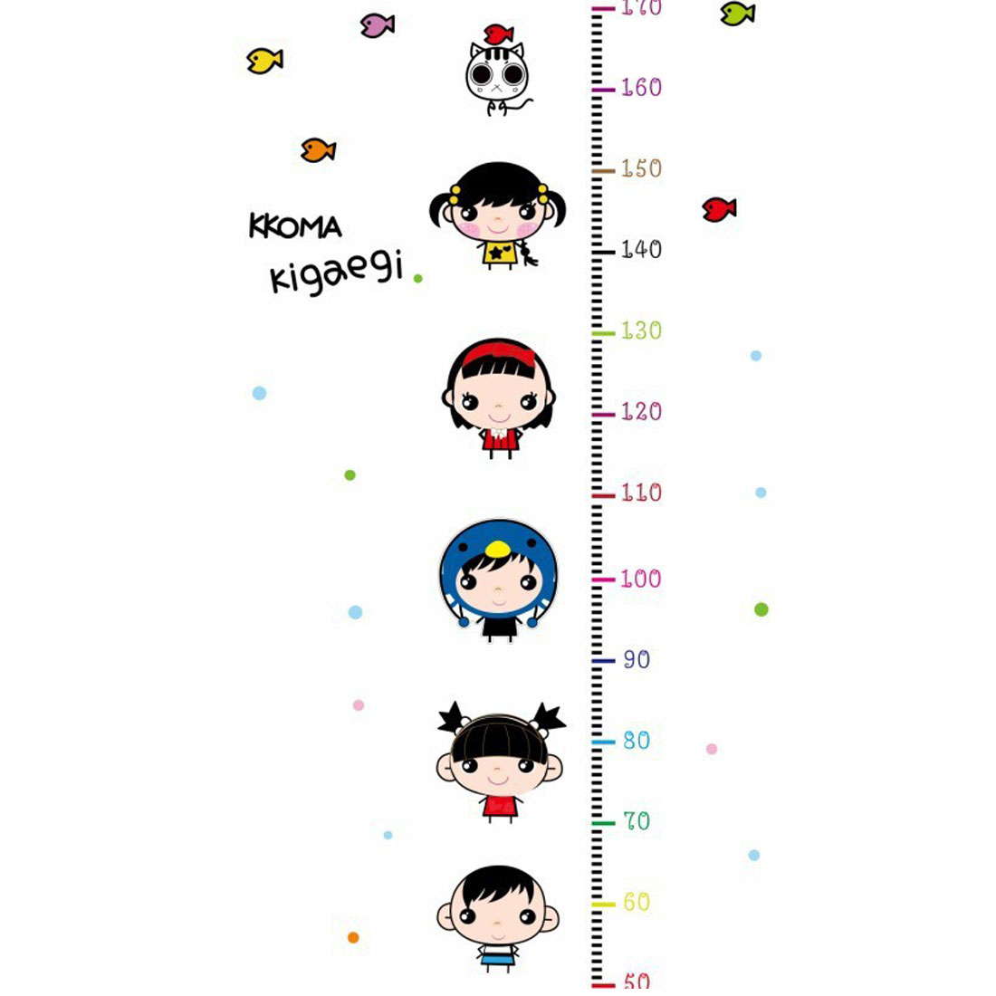 Decorative Cartoon Pattern Height Chart Measure Removable PVC Wall Sticker Decal