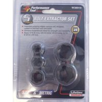 "Performance Tool W38918 5pc 3/8"" Dr Bolt Extractor Set"