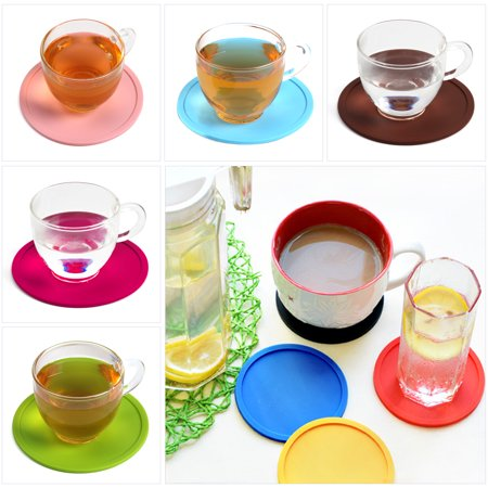 CUH Set of 6 Circular Silicone Drink Coaster Anti-slip PVC Holder Pad Cup Coffee Mat Placemat for Drinks ()