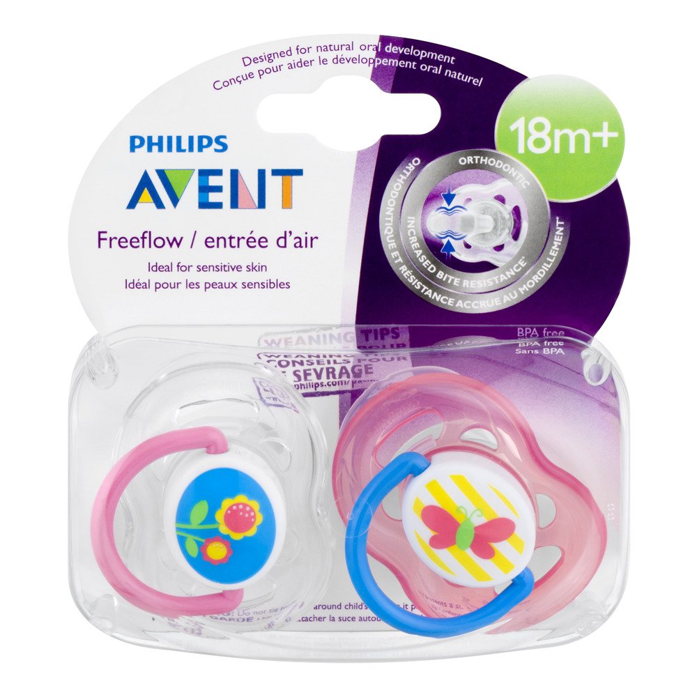 Philips Avent Orthodontic Pacifiers Freeflow, 18+ months, 2 Count