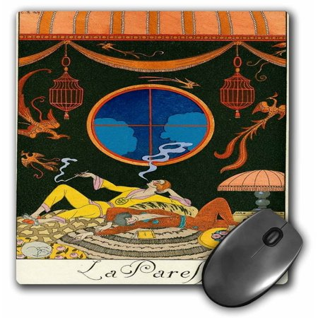 3dRose Art Deco Illustration By George Barbier, Mouse Pad, 8 by 8 inches by
