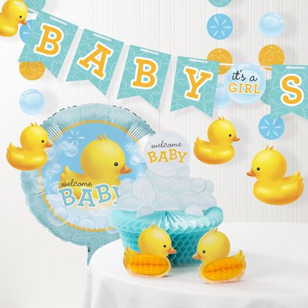 The Party Aisle 6 Piece Bubble Bath Rubber Duck Baby Shower Decorations Kit Set (Baby Shower Duck)