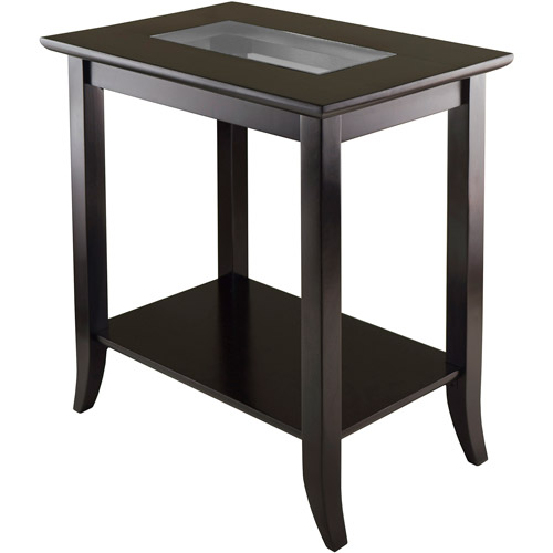 Winsome Wood Genoa End Table with Glass Top Espresso Finish