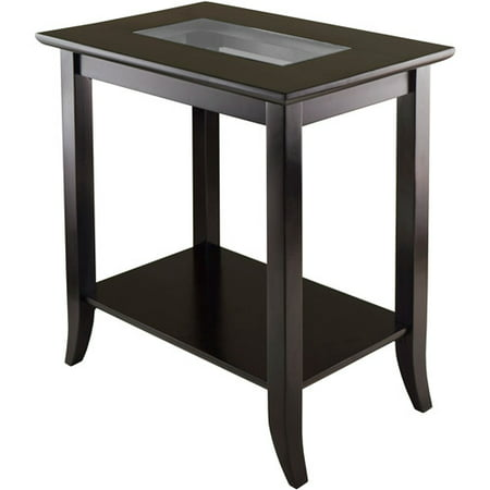 Winsome Wood Genoa End Table with Glass Top, Espresso Finish