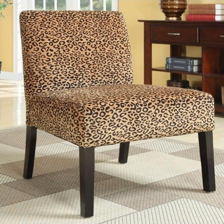 Coaster Accent Upholstered Slipper Chair In Beige Animal Print