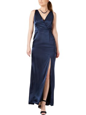 Adrianna Papell Womens Satin V-Neck Evening Dress
