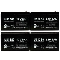 4x Pack - Country Home Products 46LAWN MOWER Battery Replacement -  UB1280 Universal Sealed Lead Acid Battery (12V, 8Ah, 8000mAh, F1 Terminal, AGM, SLA) - Includes 8 F1 to F2 Terminal Adapters
