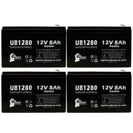 4x Pack - Compatible Powersonic PS1235 Battery - Replacement UB1280 Universal Sealed Lead Acid Battery (12V, 8Ah, 8000mAh, F1 Terminal, AGM, SLA) - Includes 8 F1 to F2 Terminal (35mm F1 8 Vs 50mm F1 8)