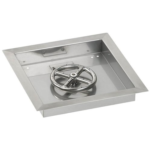 American Fireglass 12'' Square Stainless Steel Drop-in Pa...