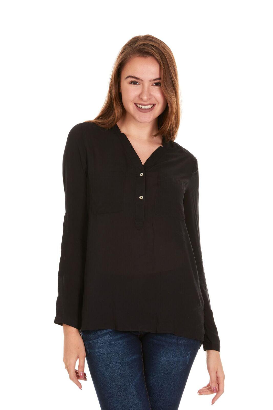 b8f8f75c8478 BRIO LADIES WEAR - Women's V-Neck Button down long sleeve top (White ...