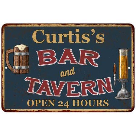 Curtis's Green Bar & Tavern Personalized Rustic Sign 8 x 12 High Gloss Metal 208120047480 ()