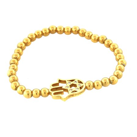 EDFORCE Stainless Steel Yellow Gold-Tone Hamsa Star of David White CZ Stretch Bracelet David Yurman Gold Bracelet