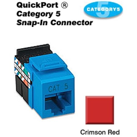 Leviton 41108-RC5 Category 5 QuickPort Snap-In Connector - Crimson Red Quickport Compression F Connector