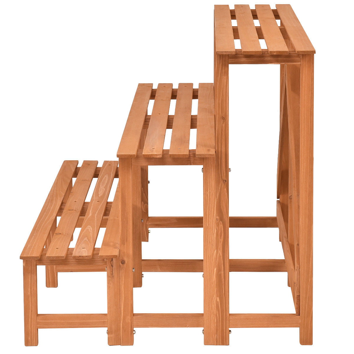 Costway 3 Tier Wide Wood Plant Stand Flower Pot Holder Display Rack Shelves Step Ladder