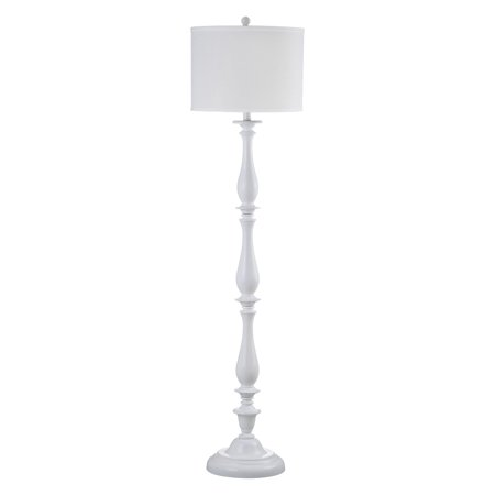 Safavieh Bessie Candlestick Floor Lamp with CFL Bulb, White with Off-White Shade
