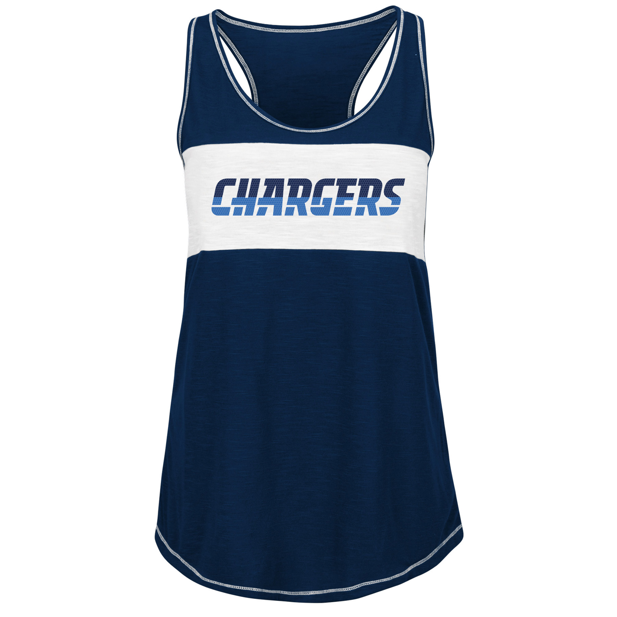Los Angeles Chargers Majestic Women's Game Time Glitz Tank Top - Navy