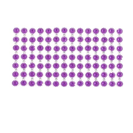 Smartphone MP5 Bling Rhinestud Flower Sticker Sheet DIY Decor Purple Silver Tone